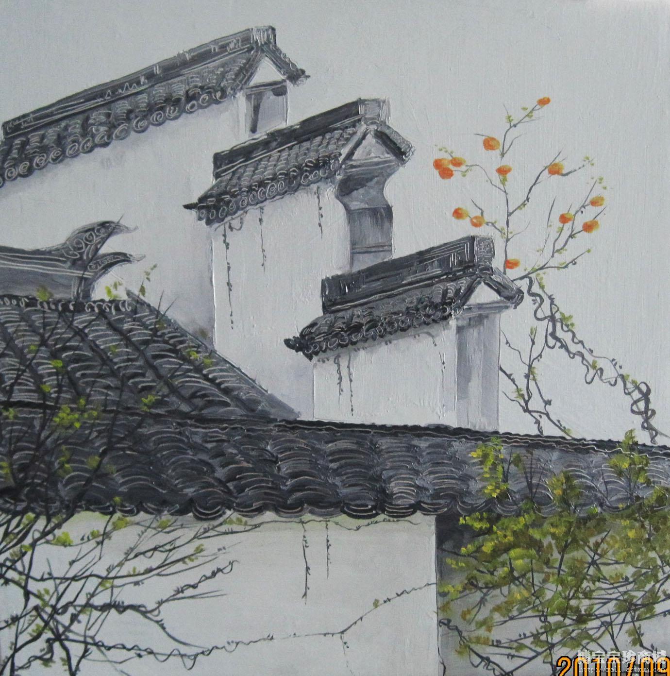 这幅风景油画作品向我们描绘了一幅具有安徽特色的
