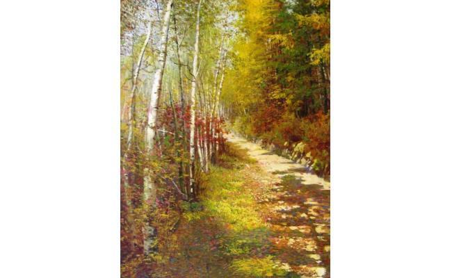 金光哲《白桦树》朝鲜油画