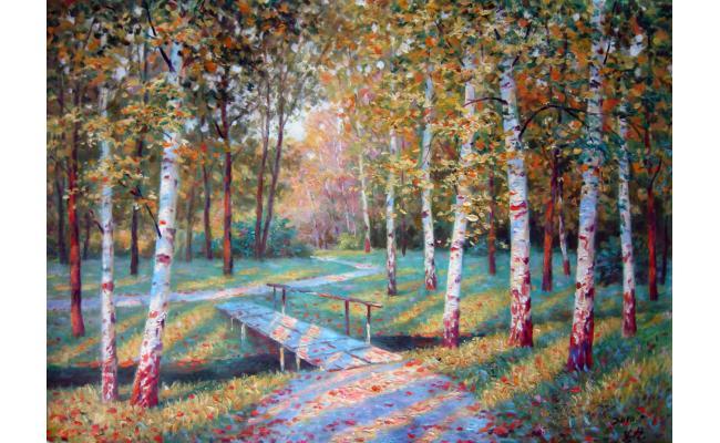 李峰哲《白桦树林》朝鲜油画