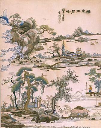 广绣山水渔读图