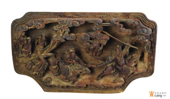 徽州木雕:清代元宝形人物...