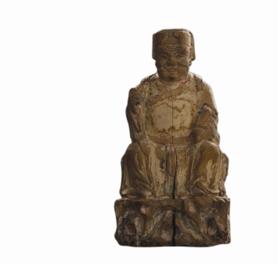 晚清木雕文财神造像