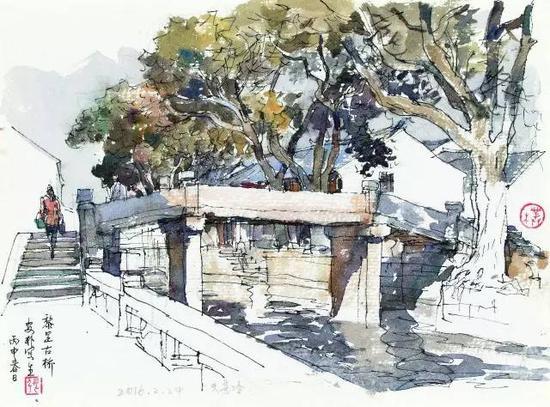 《黎里古桥写生》 张安朴 水彩画18cm×25cm